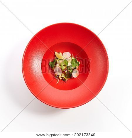 Menu in Pan-Asian cuisine - Tartar from sea scallop with passion fruit sauce with slices of vegetables and fresh greens on the red plate. Top View