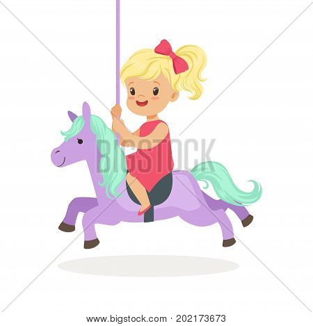 Cute little blonde girl riding on the carousel horse, kid have a fun in amusement park cartoon vector Illustration on a white background