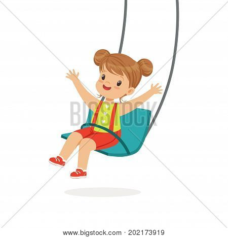 Cute little girl swinging on a swing, kid have a fun on a playground cartoon vector Illustration on a white background