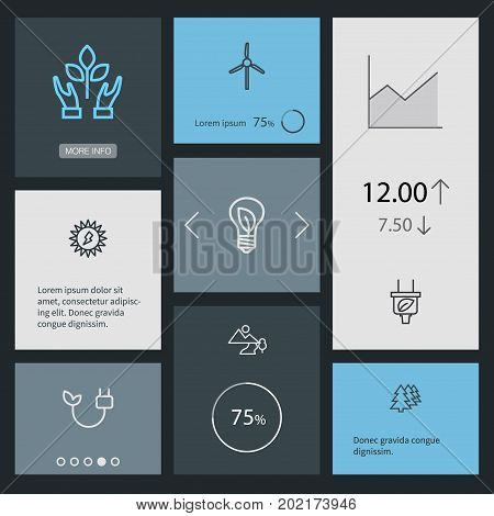 Collection Of Wind Turbine, Plug, Afforestation And Other Elements.  Set Of 8 Ecology Outline Icons Set.
