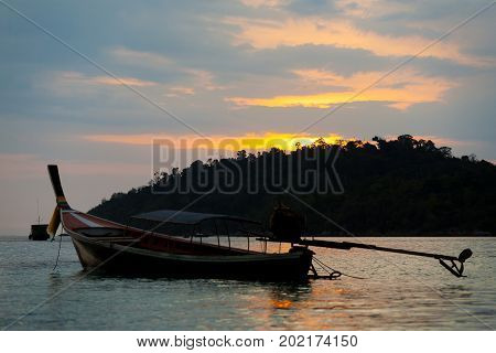 Longtail Boat Ko Lipe Coastline Cloudy Sunset Sky