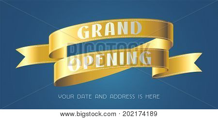 Grand opening vector illustration background with gold color ribbon. Template banner for opening event