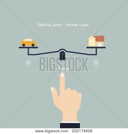 Hand and Weighing machine.Selection of Vehicle loan and Home loan concept.Real Estate and transport concept.Human hand with small car sign and house icon.Smart life & Work life balance concept.Vector illustration.