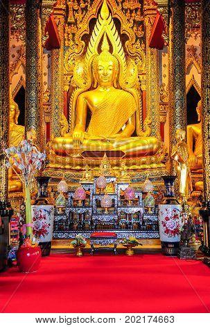 Phitsanulok Thailand - April 6 2012 : Beautiful Buddha image in Buddhist church in Phitsanulok Thailand where usually Buddhists worshipping Buddha image