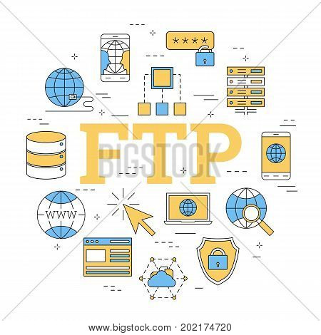 Vector linear round concept of File Transfer Protocol - FTP. Isolated illustration with outline icons in blue and yellow colors. Square web banner