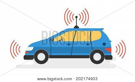 Vector isolated illustration of self driving car. Blue autonomous driverless machine with gps and antenna. Future technologies in flat style