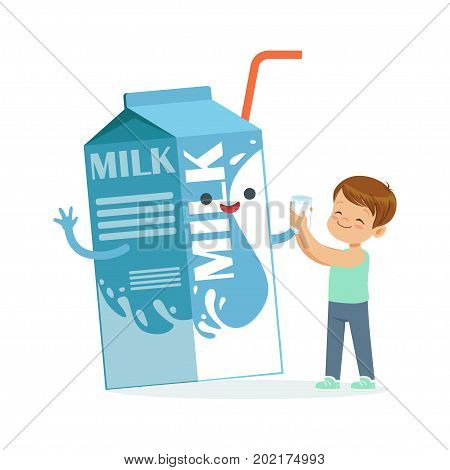 Cute little boy and funny milk carton box with smiling human face playing and having fun, healthy childrens food cartoon characters vector Illustration on a white background