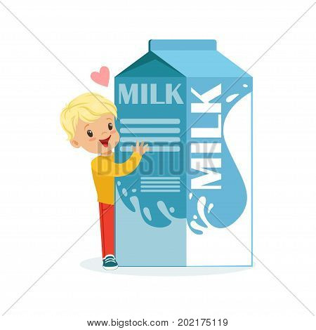 Cute blonde little boy and funny milk carton box with smiling human face playing and having fun, healthy childrens food cartoon characters vector Illustration on a white background