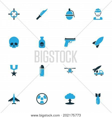 Battle Colorful Icons Set. Collection Of Fighter, Bomb, Artillery And Other Elements