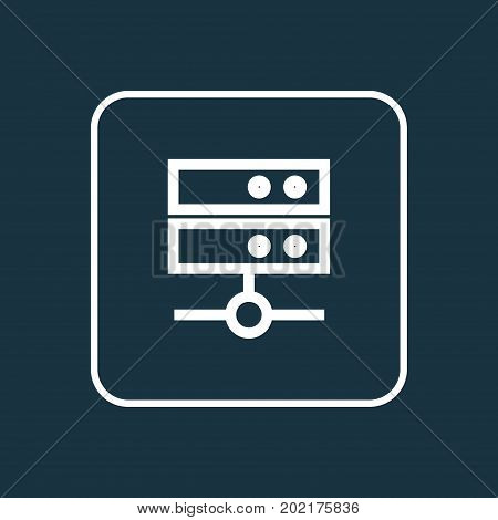 Premium Quality Isolated Datacenter Element In Trendy Style.  Media Server Outline Symbol.