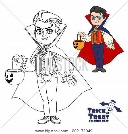 Cute Boy In Vampire Costume With A Pumpkin Bag For Sweets Trick Or Treat Color And Outlined For Colo