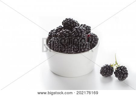bowl full of blackberries on white background - fruits and vegetables