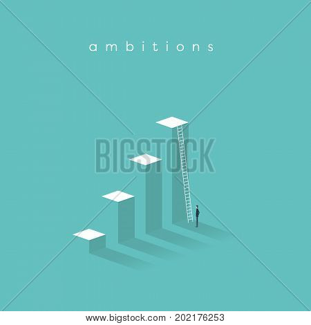 Business motivation, determination, success, career growth vector concept. Businessman standing in front of corporate ladder. Eps10 vector illustration.