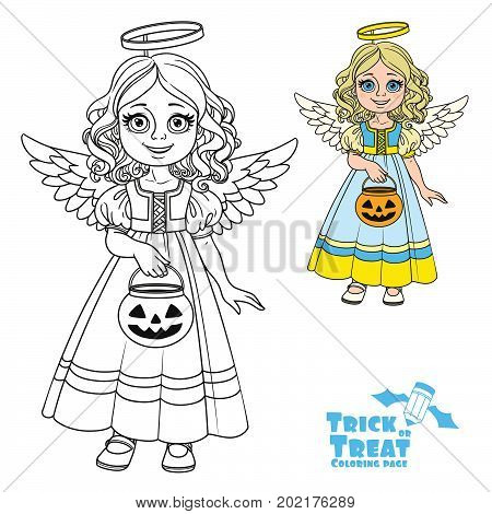 Cute Girl In Angel Costume Holding A Pumpkin Bag For Sweets  Trick Or Treat Color And Outlined For C