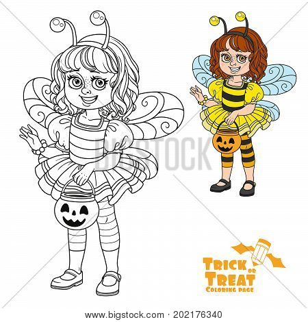 Cute Girl In Bee Costume Holding A Pumpkin Bag For Sweets  Trick Or Treat Color And Outlined For Col