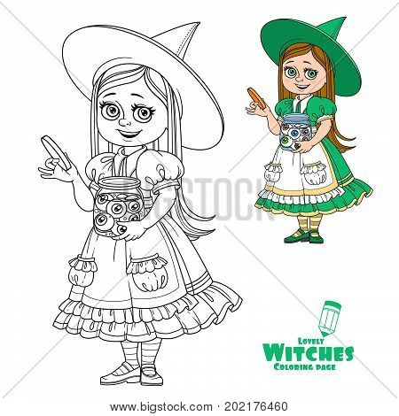 Cute Girl In Witch Costume Holding A Big Jar With Eyes Color And Outlined For Coloring Page