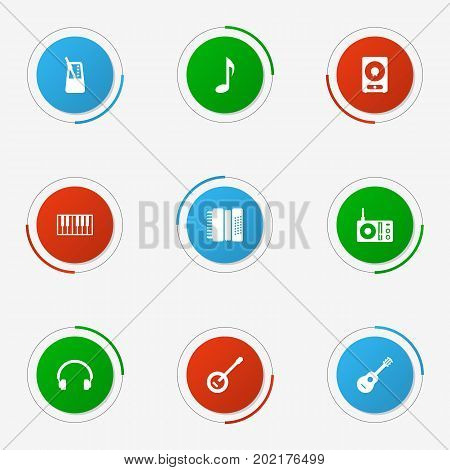 Collection Of Acoustic, Rhythm Motion, Earphones And Other Elements.  Set Of 9 Melody Icons Set.