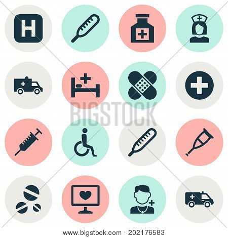 Medicine Icons Set. Collection Of Peck, Cure, Diagnosis And Other Elements