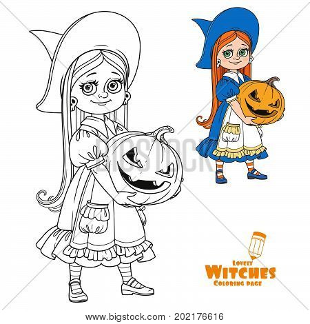 Cute Girl In Witch Costume Holding A Large Pumpkin Carved With A Grin Color And Outlined For Colorin