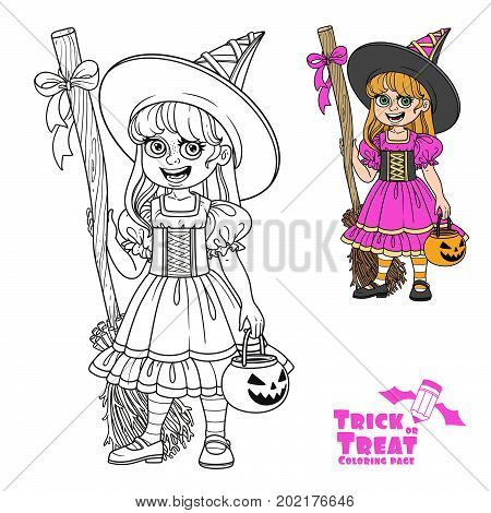 Cute Girl In Witch Costume Holding A Pumpkin Bag For Sweets  Trick Or Treat Color And Outlined For C