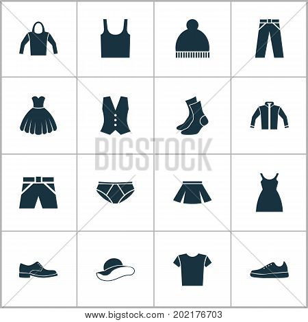 Clothes Icons Set. Collection Of Dress, Stylish Apparel, Beanie And Other Elements