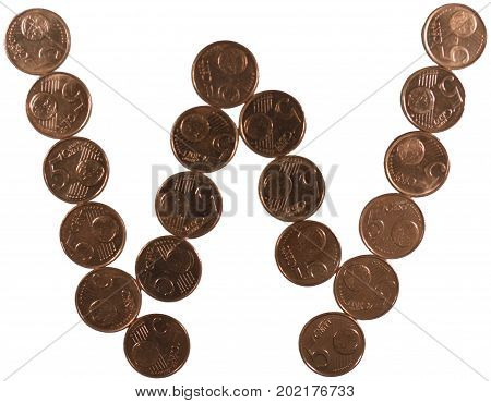 Arial Coin (5 eurocents) alphabet. Lowercase 'w'