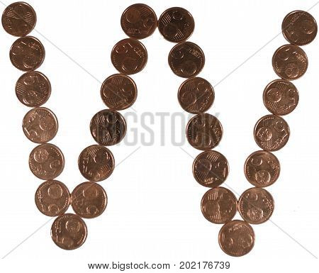 Arial Coin (5 eurocents) alphabet. Uppercase 'W'