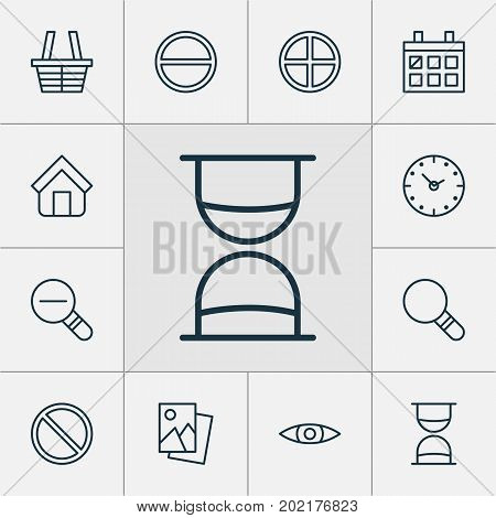 Web Icons Set. Collection Of Hourglass, Refuse, Landscape Photo Elements