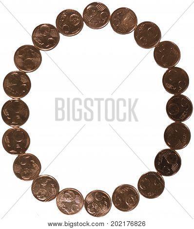 Arial Coin (5 eurocents) alphabet. Uppercase 'O'