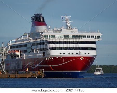 HELSINKI, FINLAND - JULY 15, 2017: Cruiseferry Viking XPRS of Viking Line in the port of Helsinki. Built in 2008, the ship has capacity for 2500 passengers and 610 cars