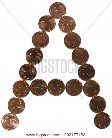 Arial Coin (5 eurocents) alphabet. Uppercase 'A'