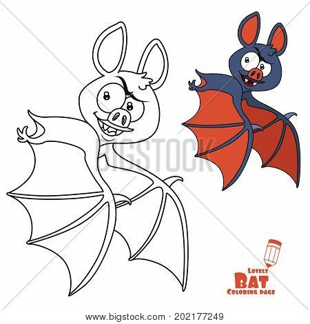Cute Halloween Bat Flying Color And Outlined For Coloring Page