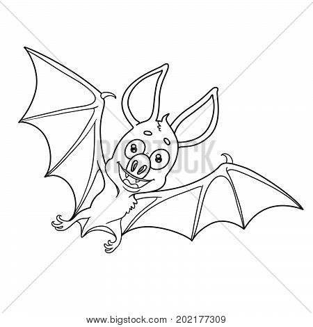 Cute Halloween Bat Outlined For Coloring Page
