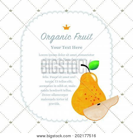 Colorful Watercolor Texture Nature Organic Fruit Memo Frame Pear