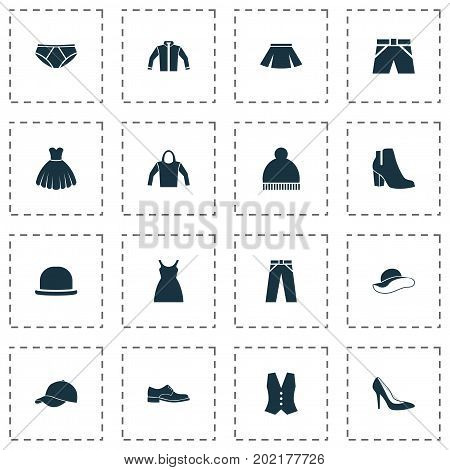 Garment Icons Set. Collection Of Pants, Panama, Briefs And Other Elements