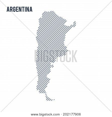 Vector Abstract Hatched Map Of Argentina With Oblique Lines Isolated On A White Background.