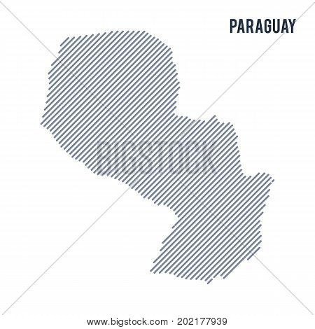 Vector Abstract Hatched Map Of Paraguay With Oblique Lines Isolated On A White Background.
