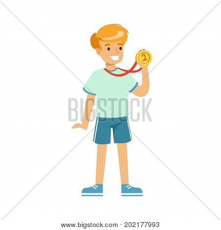 Young boy with a first place medal, kids individual sport cartoon vector Illustration on a white background