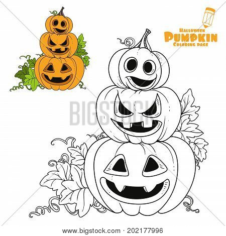 Three Lantern From Pumpkins With The Cut Out Of A Grin Stand One On Another Color And Outlined For C