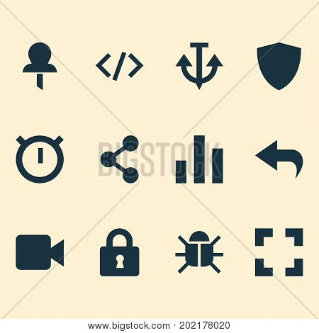 User Icons Set. Collection Of Tag, Screenshot, Column And Other Elements