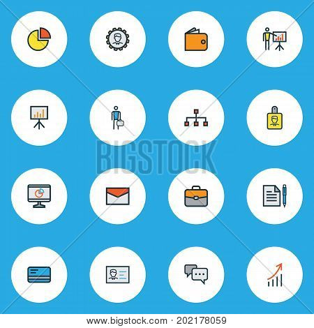 Business Colorful Outline Icons Set. Collection Of Bank Cash, Circle Stats, Identification Document And Other Elements