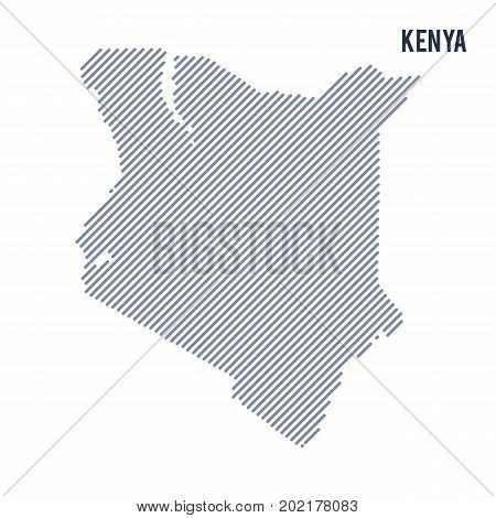 Vector Abstract Hatched Map Of Kenya With Oblique Lines Isolated On A White Background.