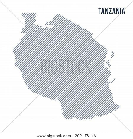 Vector Abstract Hatched Map Of Tanzania With Oblique Lines Isolated On A White Background.