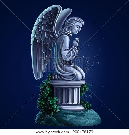 Tombstone Kneeling Angel Raster Draw On Blue Night Background