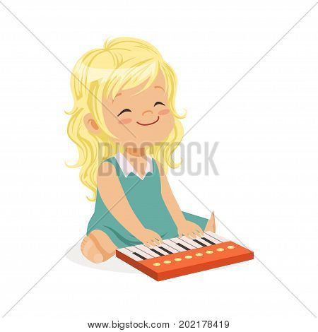 Sweet blonde little girl playing piano, young musician with toy musical instrument, musical education for kids cartoon vector Illustration on a white background