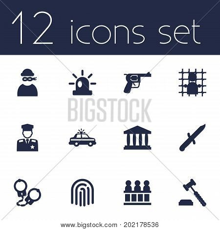 Collection Of Judge Gavel, Manacles, Police Car And Other Elements.  Set Of 12 Criminal Icons Set.