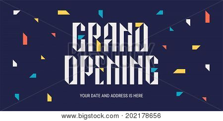Grand opening vector illustration. Template banner or horizontal poster with abstract background for opening event