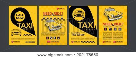Taxi pickup service design layout templates set. A4 call taxi concept flyer. Vector illustration.