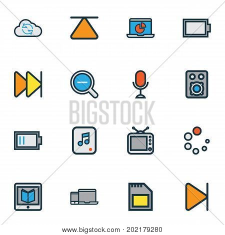 Media Colorful Outline Icons Set. Collection Of Magnifying, E-Reader, Cloud And Other Elements