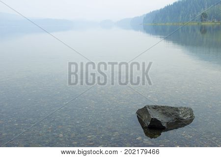 Lake at camp ground in hazy day
